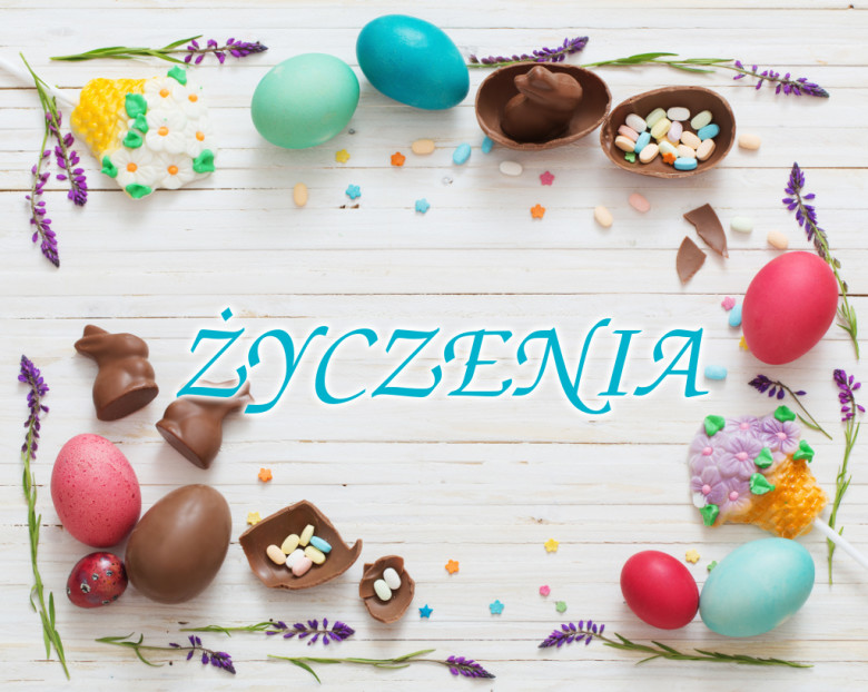Easter Eggs Over Blue Wooden Background